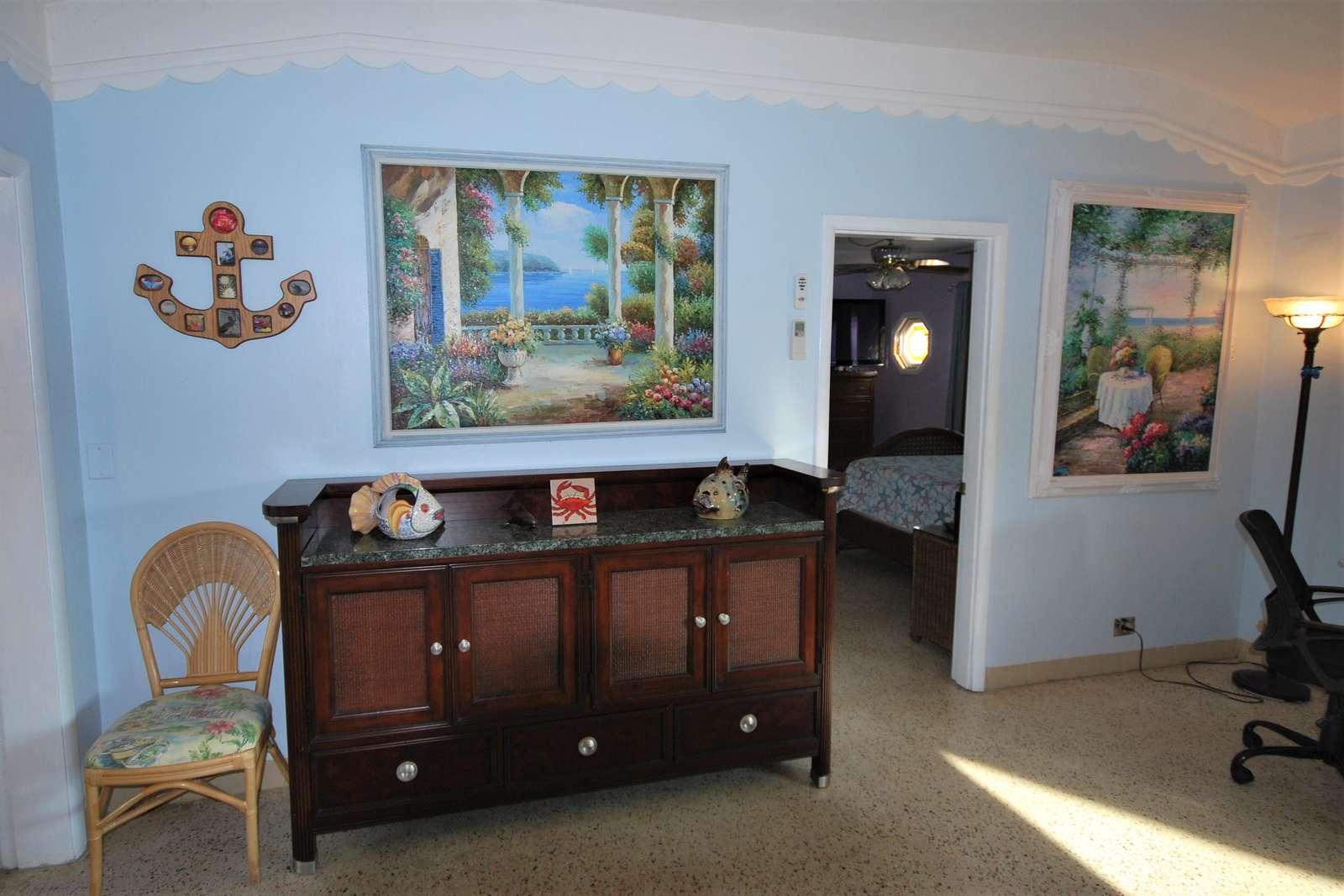 Spacious Living room with Florida Keys art