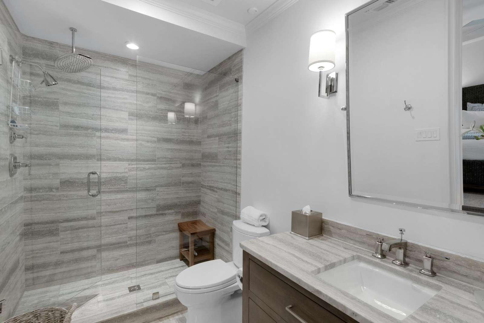 Larger walk-in shower