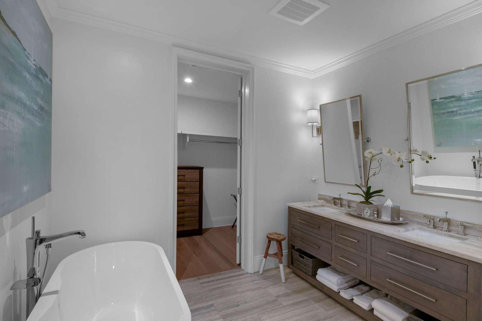 Soaking tub-double vanity sinks