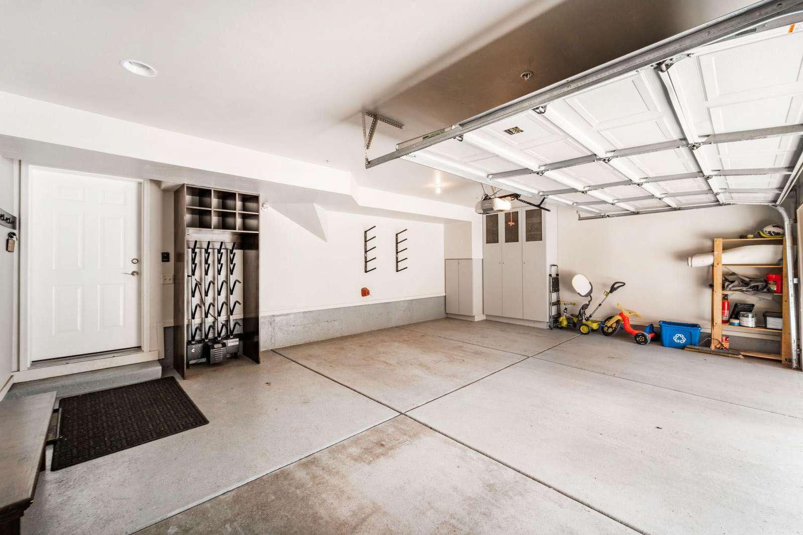 Two car garage with ski storage