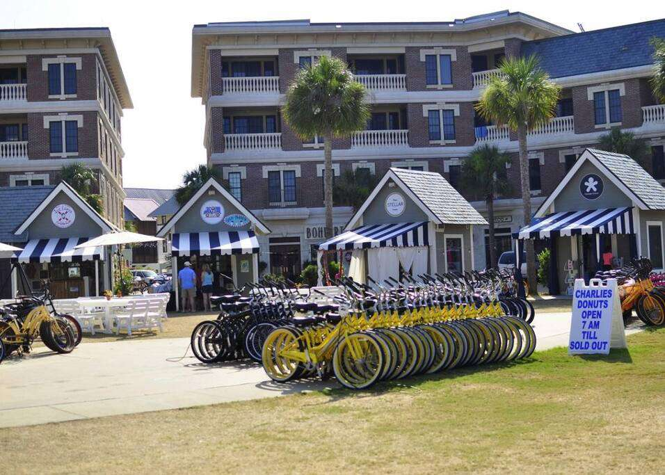 Bike rentals and beach gear available.