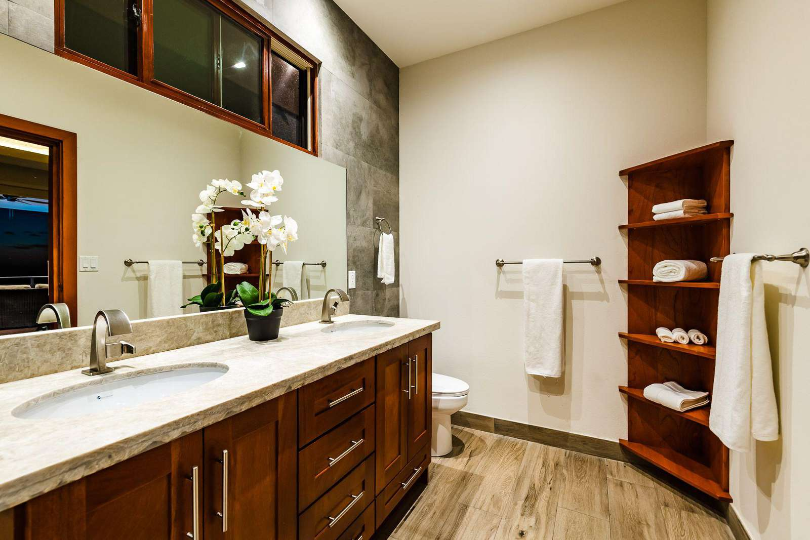 Master bathroom, dual vanity, oversized walk in shower & outdoor shower