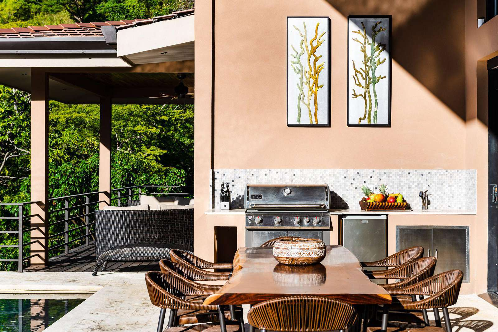 BBQ grill area, outdoor dining, poolside
