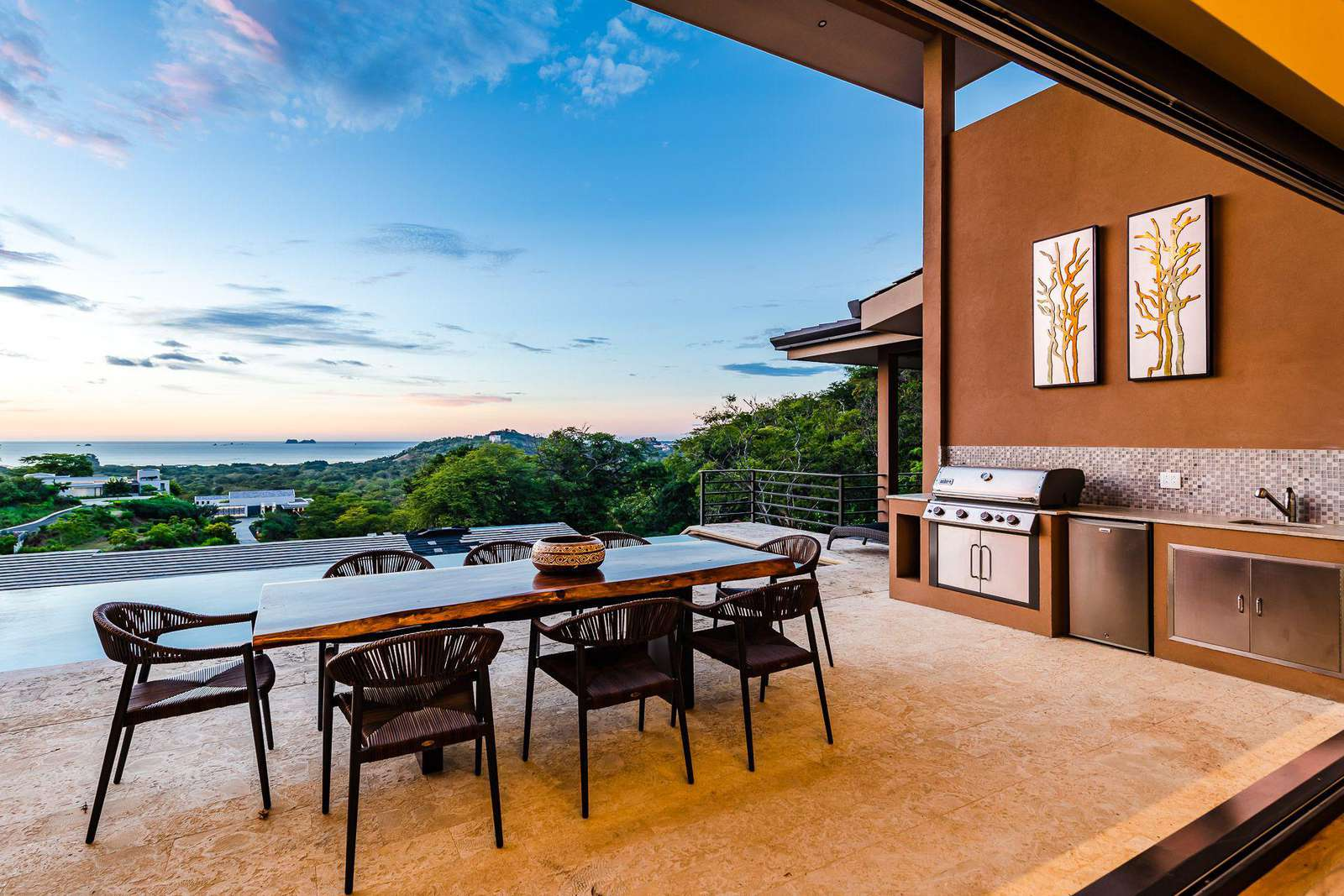 Outdoor dining area with a view