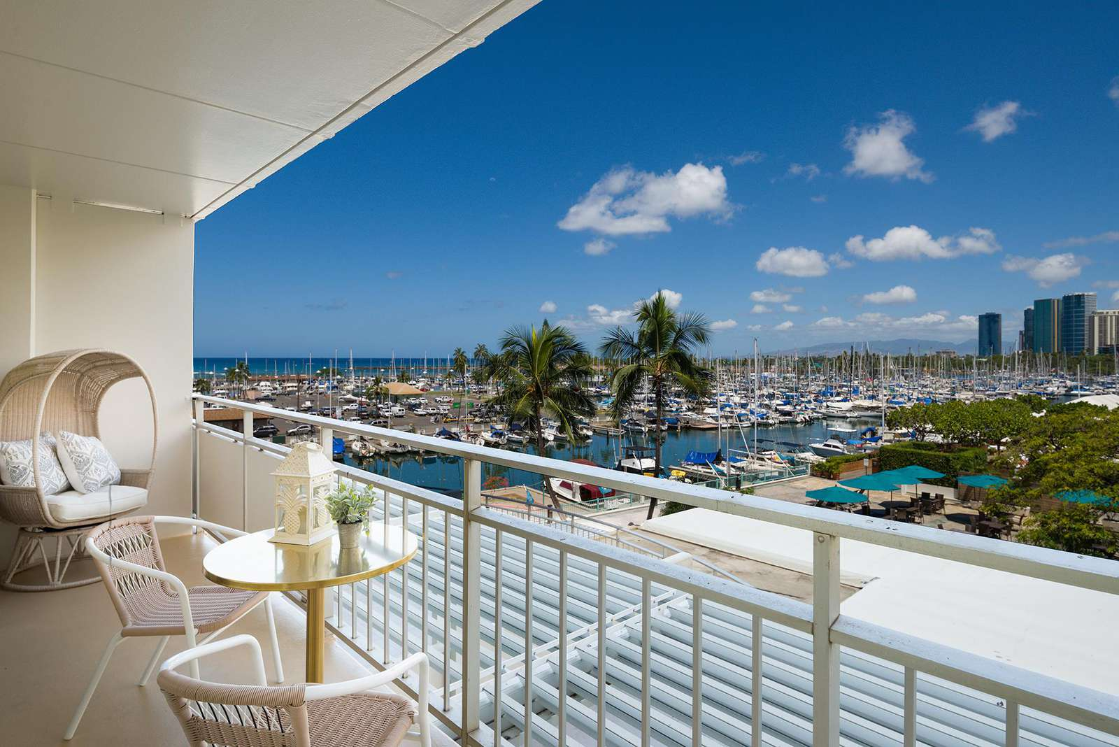 Amazing Ocean Views over Waikiki Yacht Harbor from the Lanai to Relax and Enjoy!