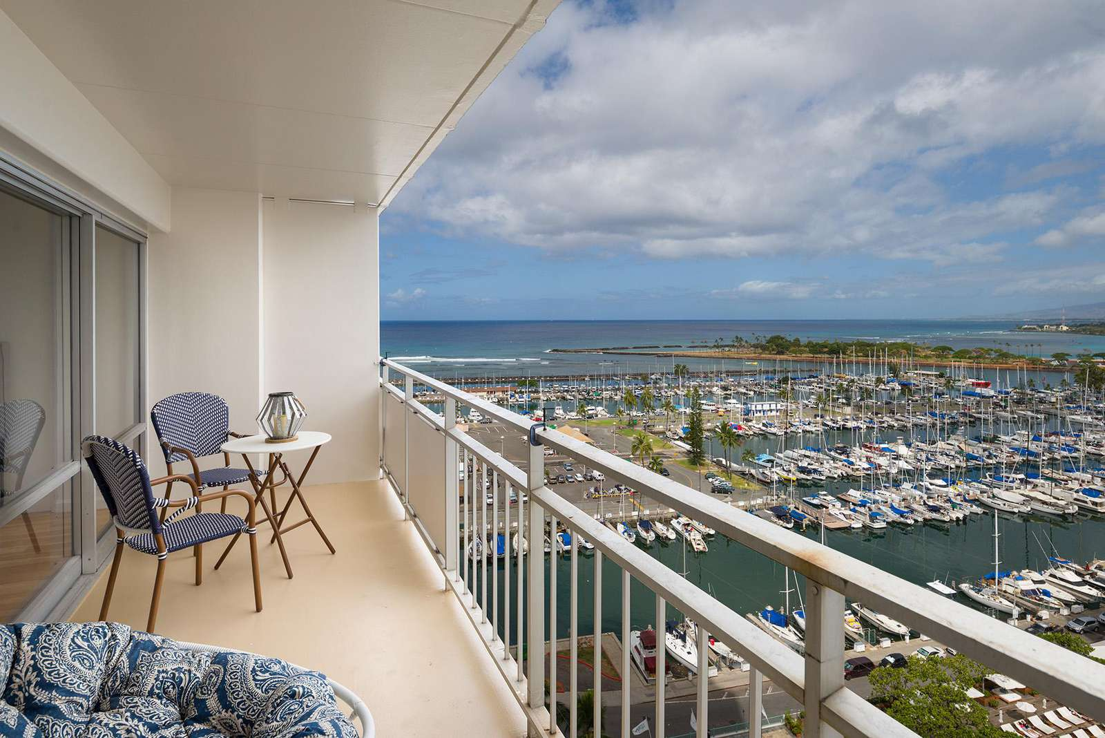 Incredible Ocean Views Over Waikiki Yacht Harbor from the Entire Suite!