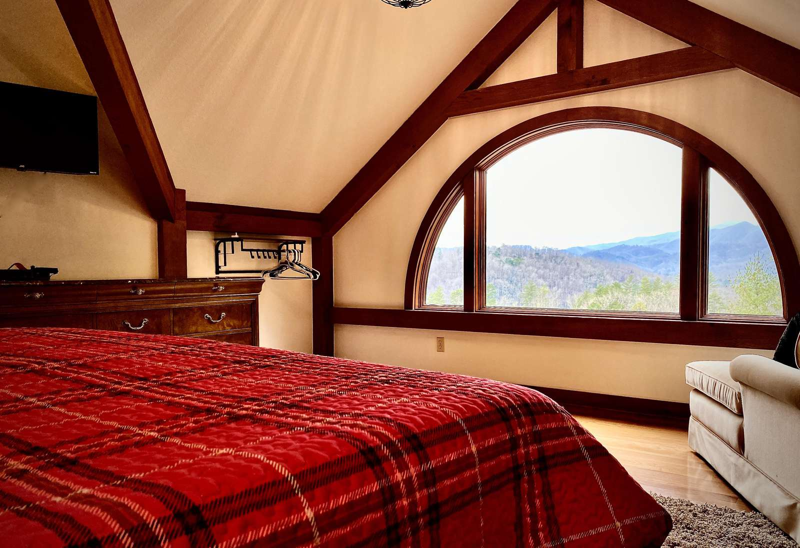 Upstairs, the Jr. Master Suite's King Bed is Perfectly Placed to Enjoy the Mountain Views