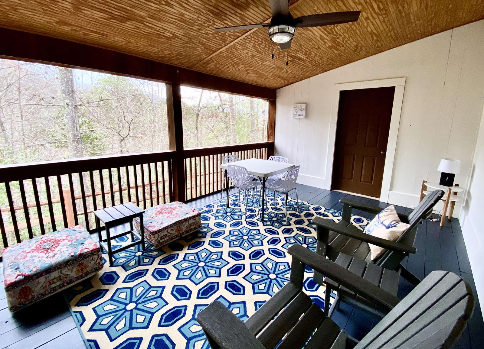Completely Private Screened Porch is ideal for Yoga or Relaxing with a Good Book