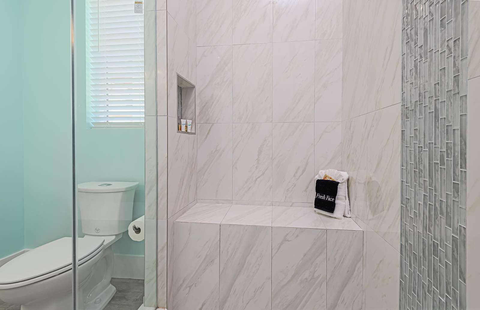 Shower bench in the large master walk-in shower!