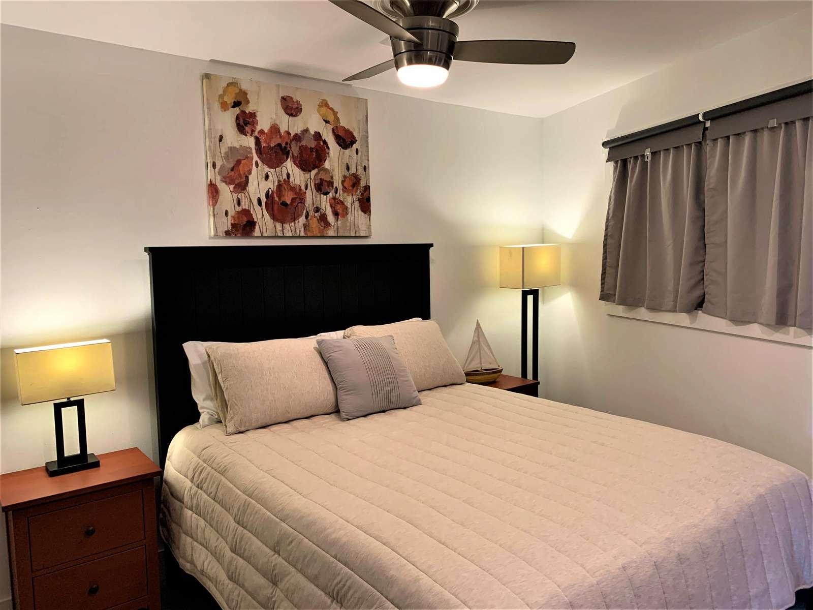 Queen Bed with Open Floor plan