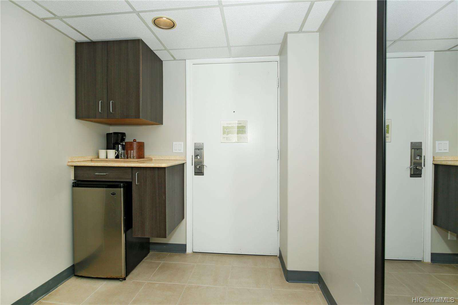 Mini Fridge, Coffee Maker, 2 burner stove and all the basics for in-room convenience!