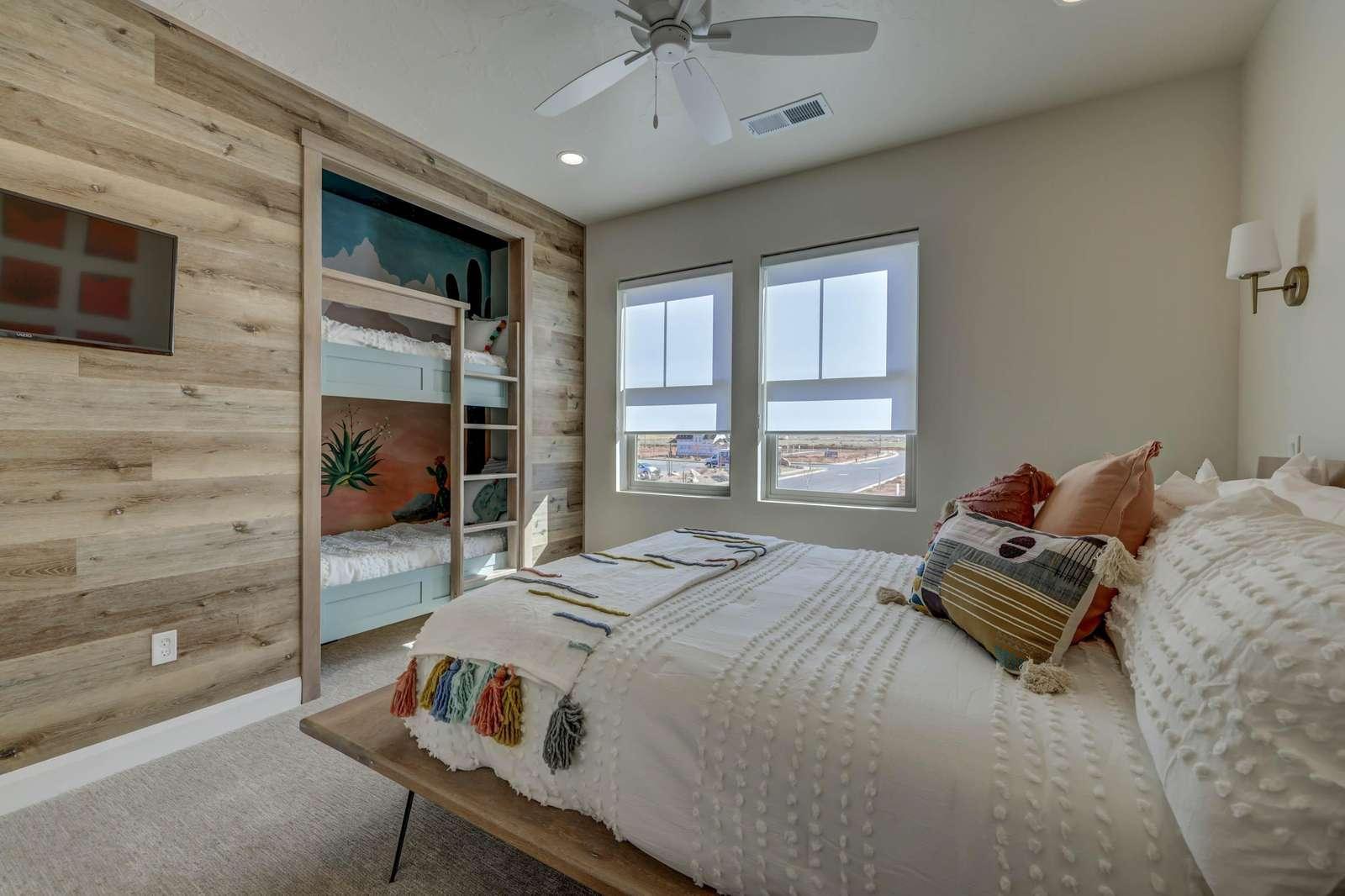 Queen bed with built in bunk beds
