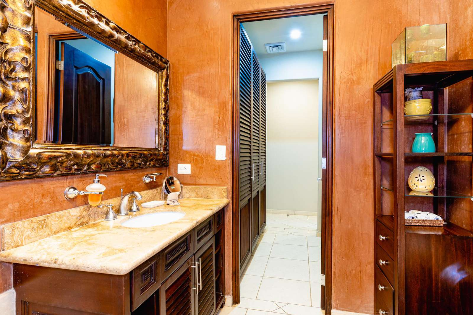 Another view of the master bathroom, marble vanity & walk in shower