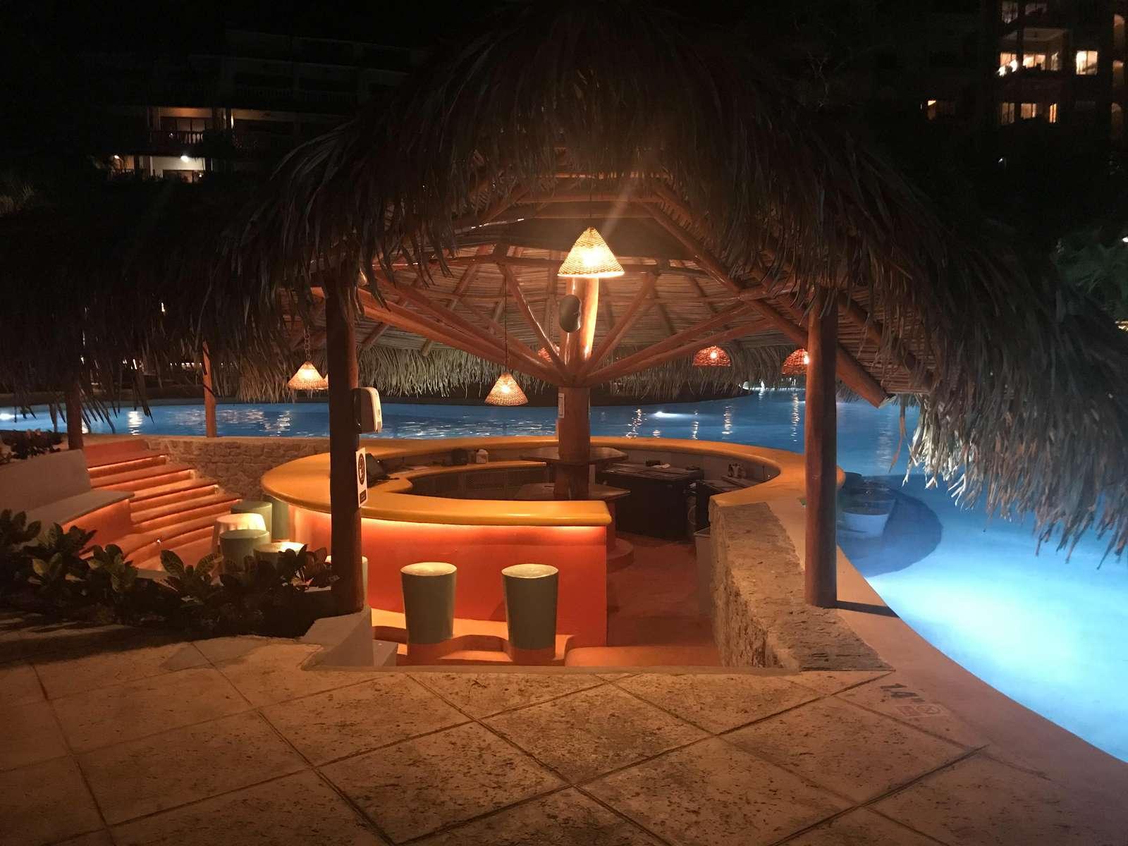 the lagoon pool area at night