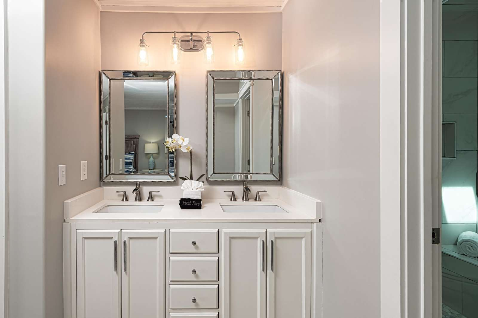 Separate double vanity in the master!