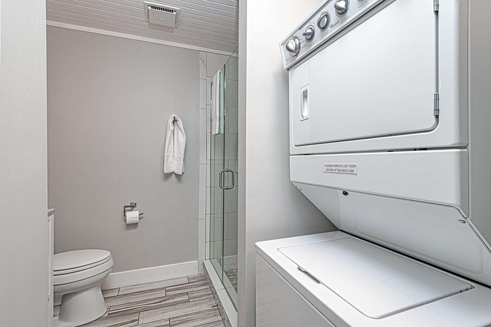Stackable washer/dryer available for use!