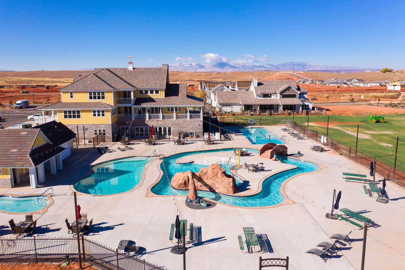 Resort Pool and Farm House
