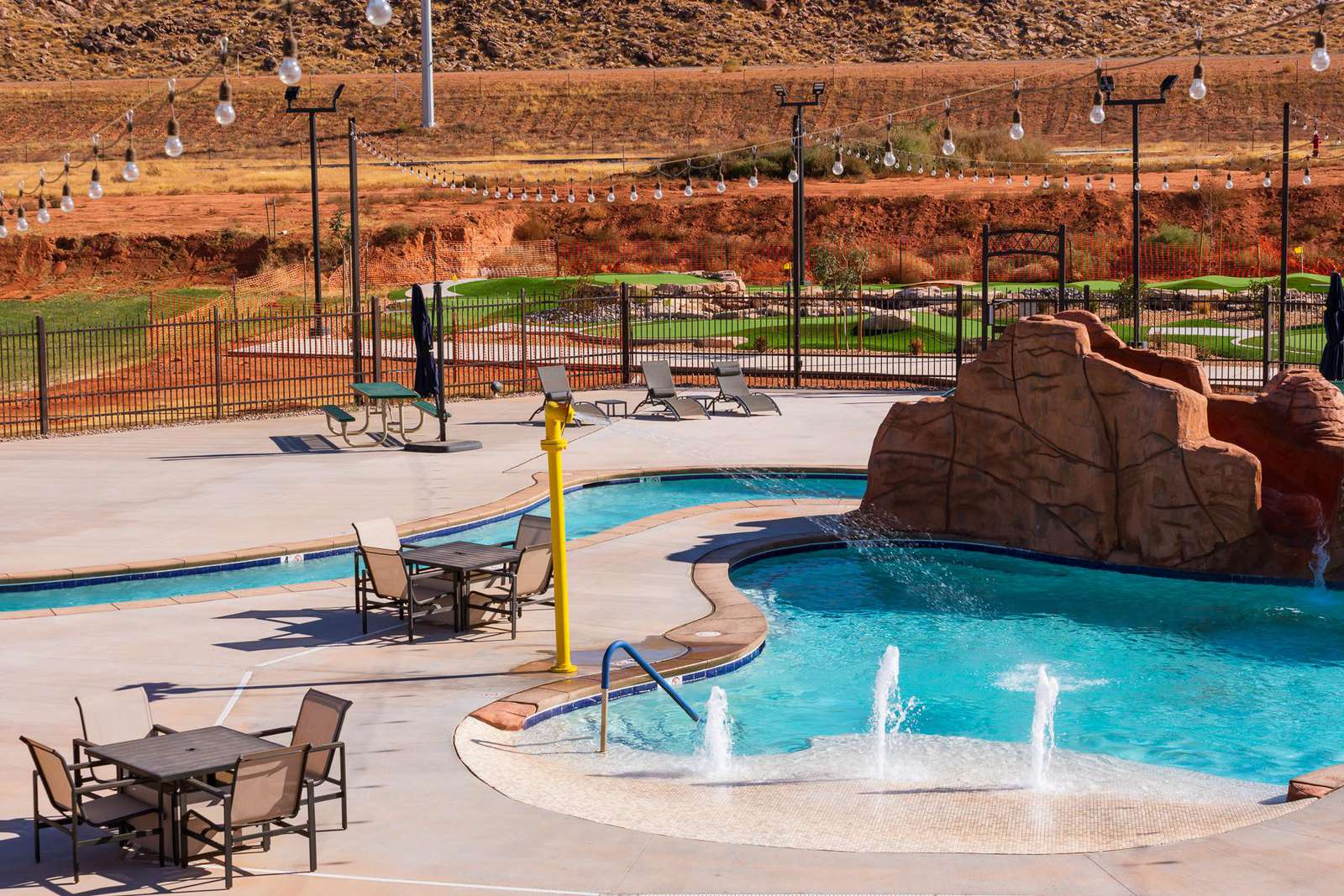 splash pad, slide, lazy river