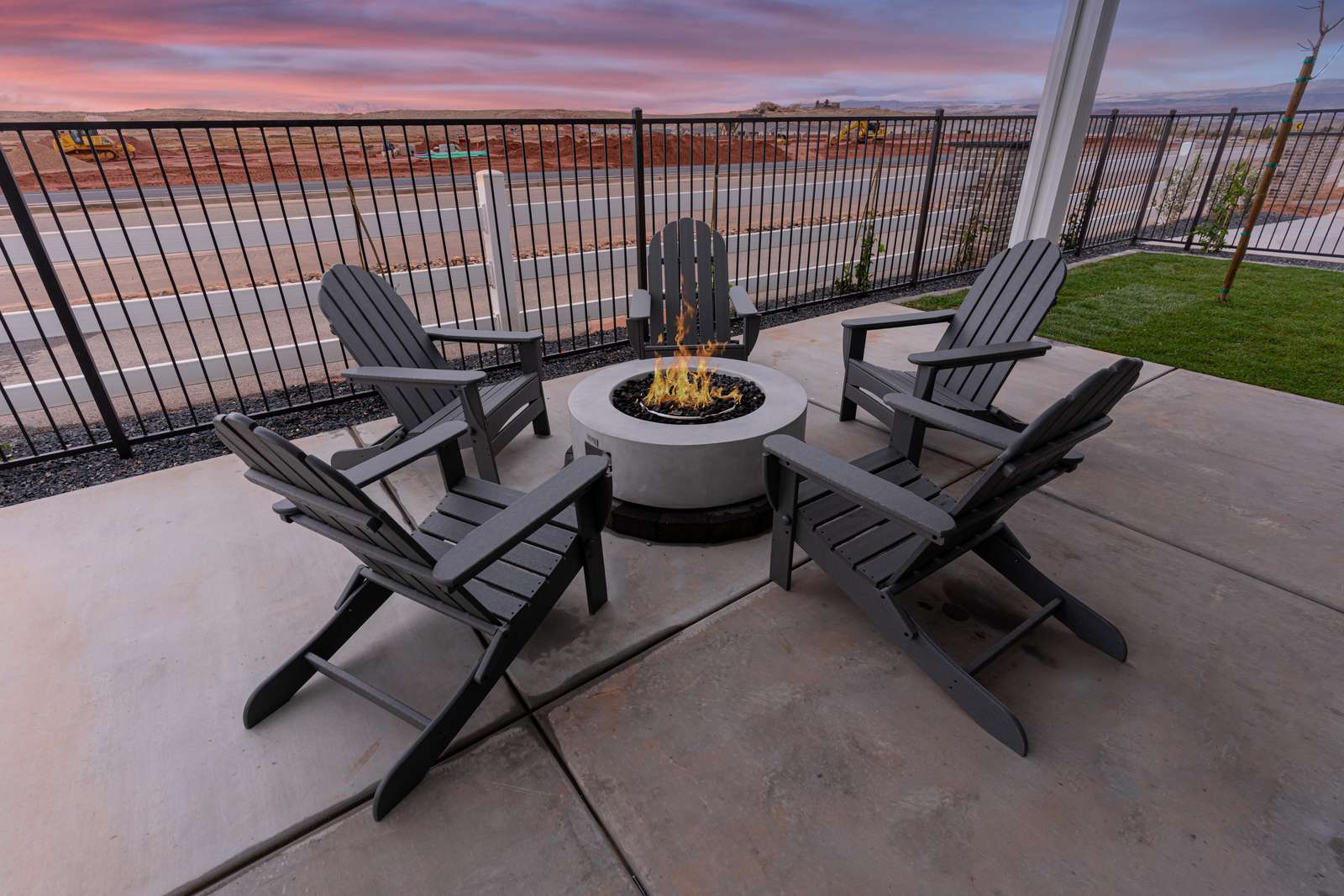 Fire feature with chairs