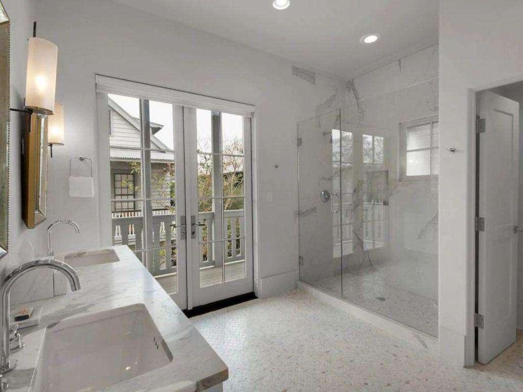 Master Bath Double Vanity Sinks-Outdoor Balcony off Bathroom