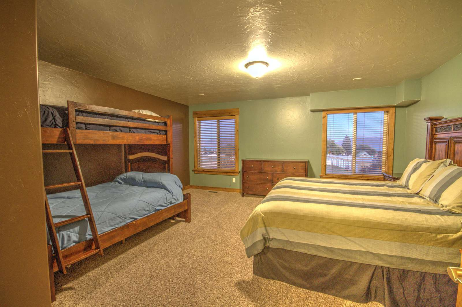 Upstairs bedroom with view of the lake
