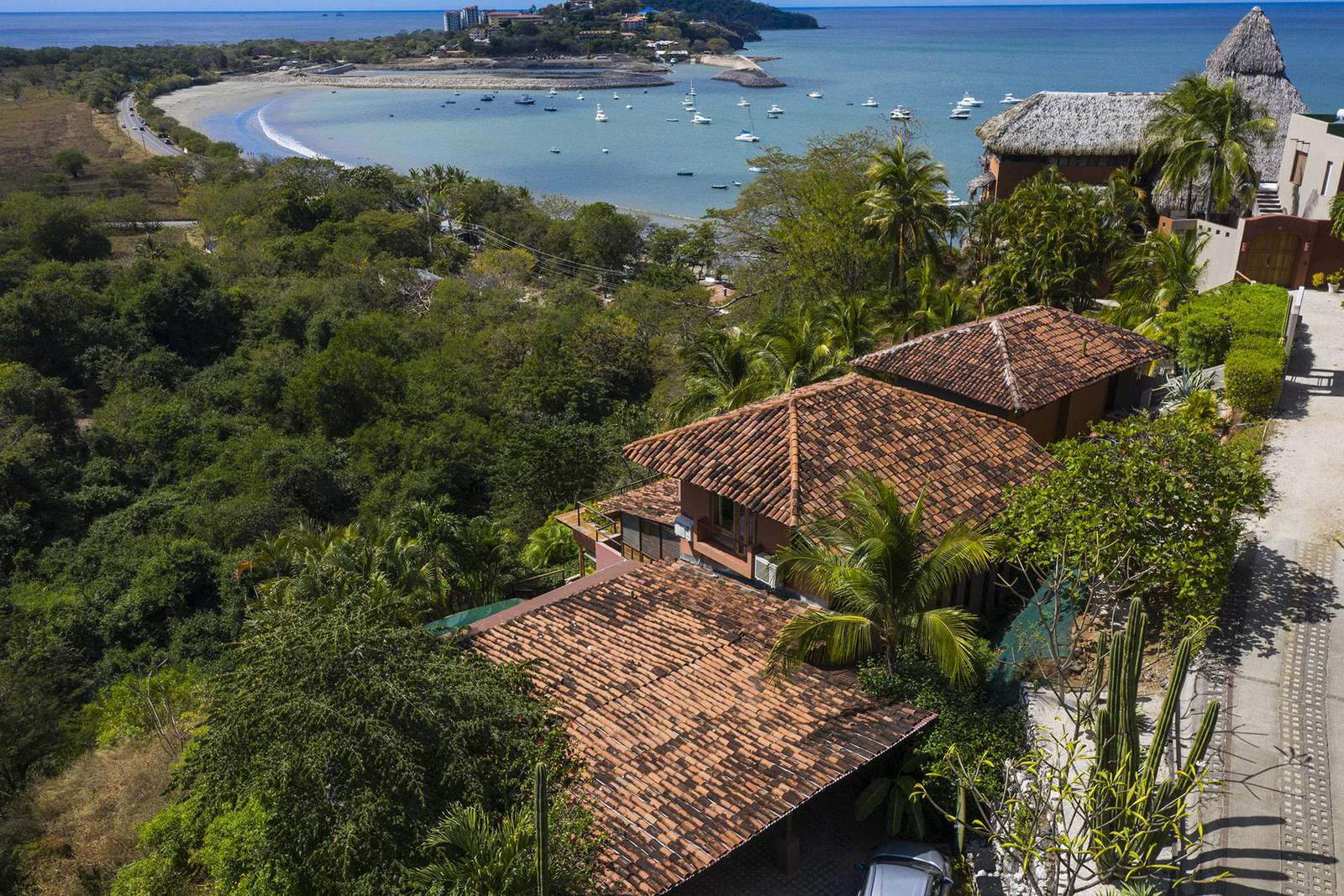 Aerial view of the house and Potrero Bay - property