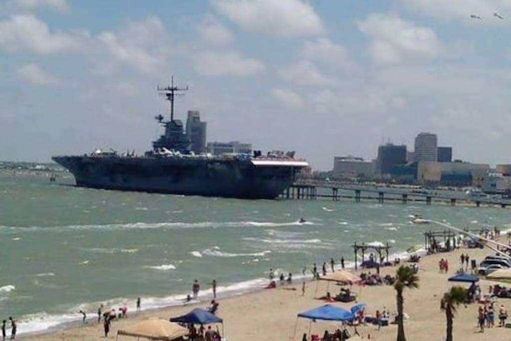 USS Lexington 3/4 mile down the beach