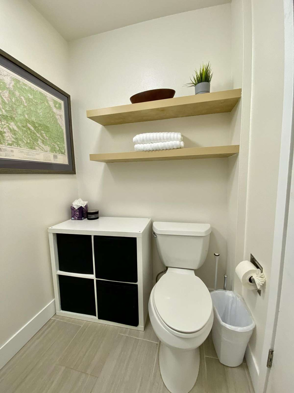 Toilet and bathroom storage space