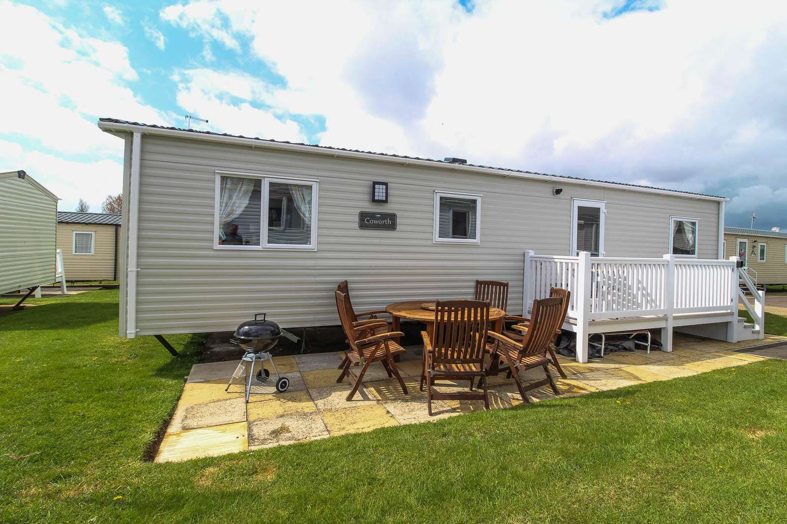 80020F – Fairways area, 3 bed, 8 berth caravan with decking. Diamond-Plus rated. - property