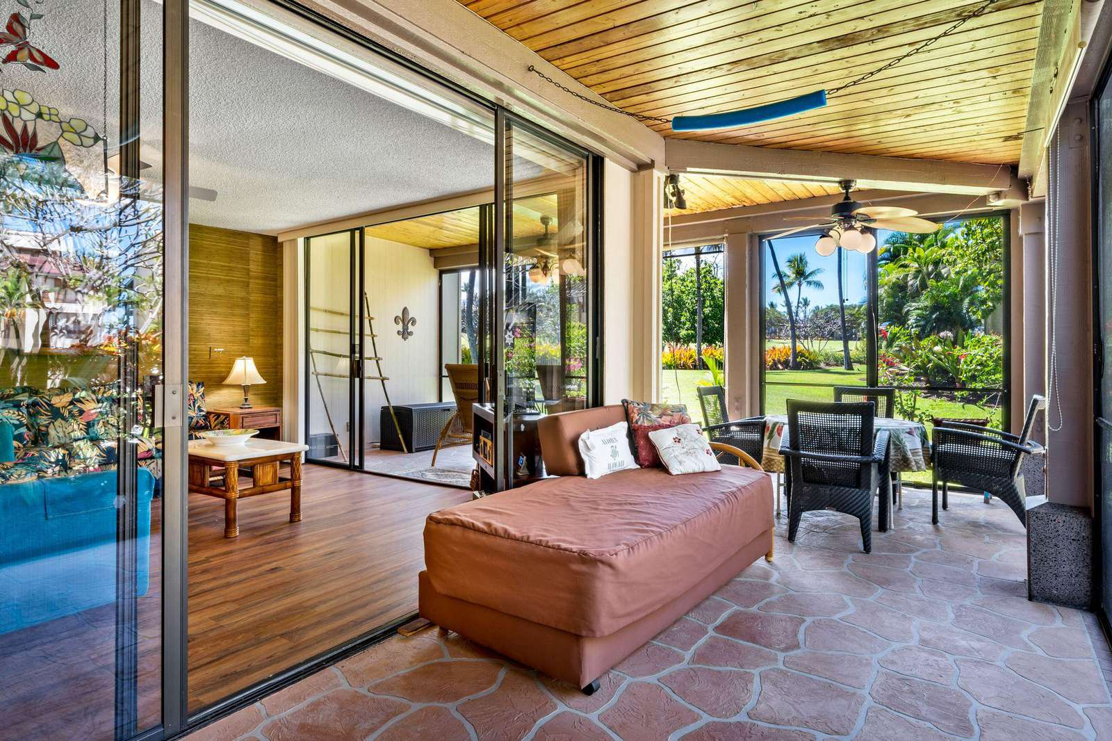 This lanai adds a huge living area to the condo home.