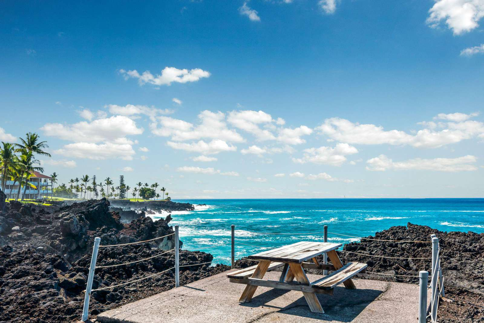 There is a paved trail along the shoreline, with this perfect spot to sit and have your lunch.
