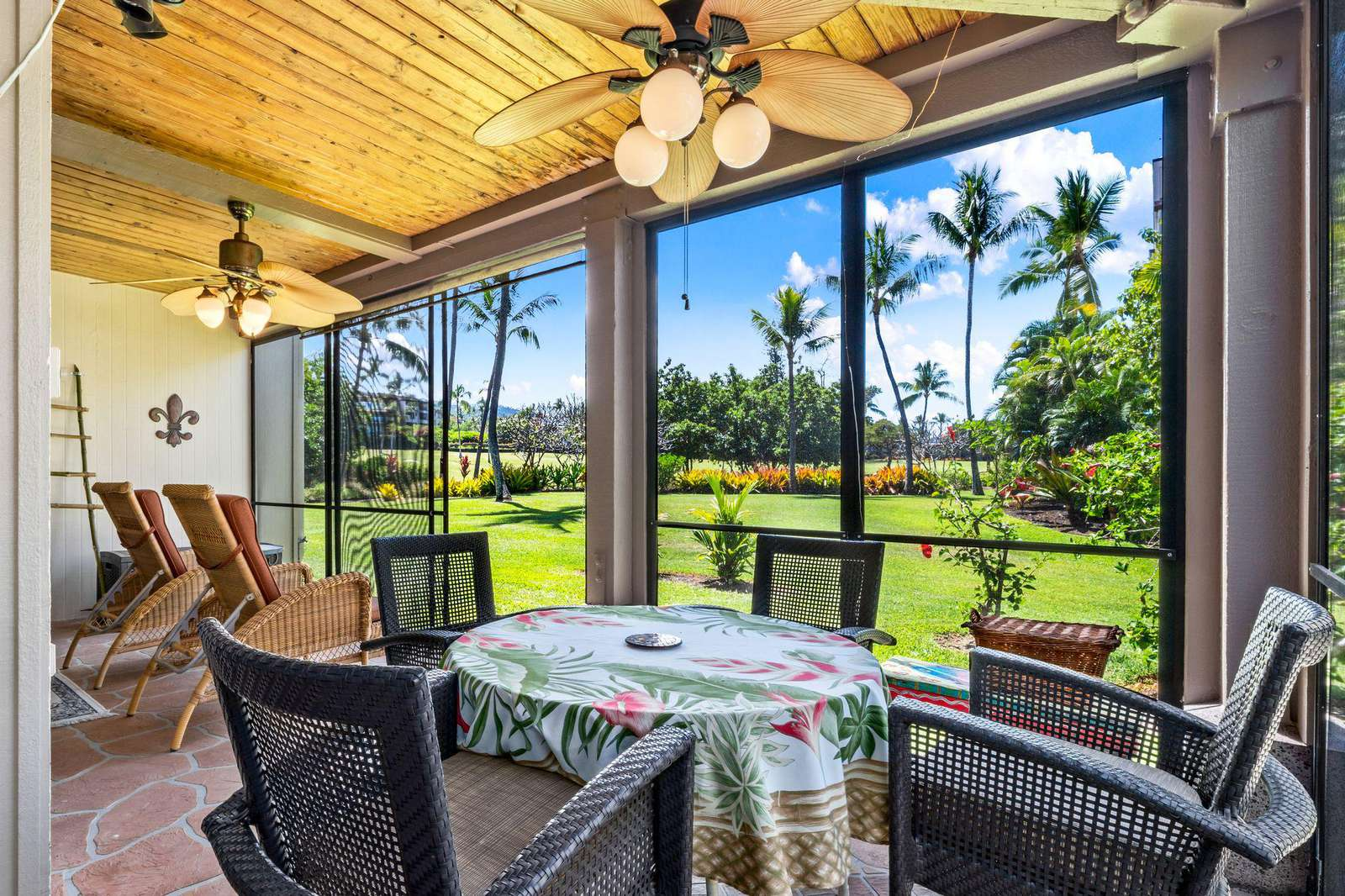 Relax on the cool, shady screened in lanai.