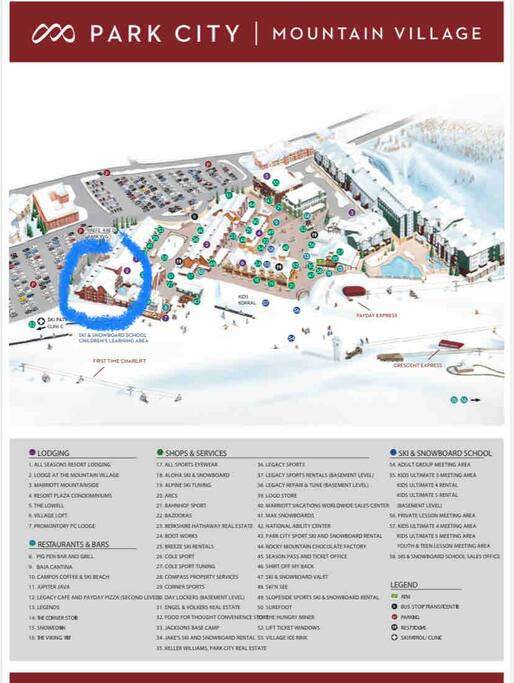 Resort village - our building is circled in blue! Ski-in /ski-out