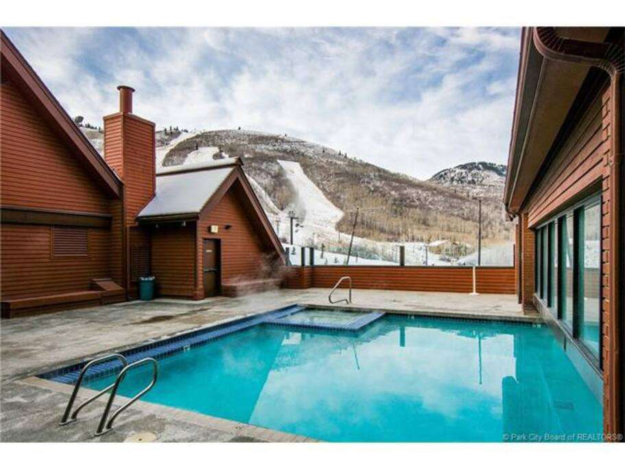 Slopeside heated pool and hot tub