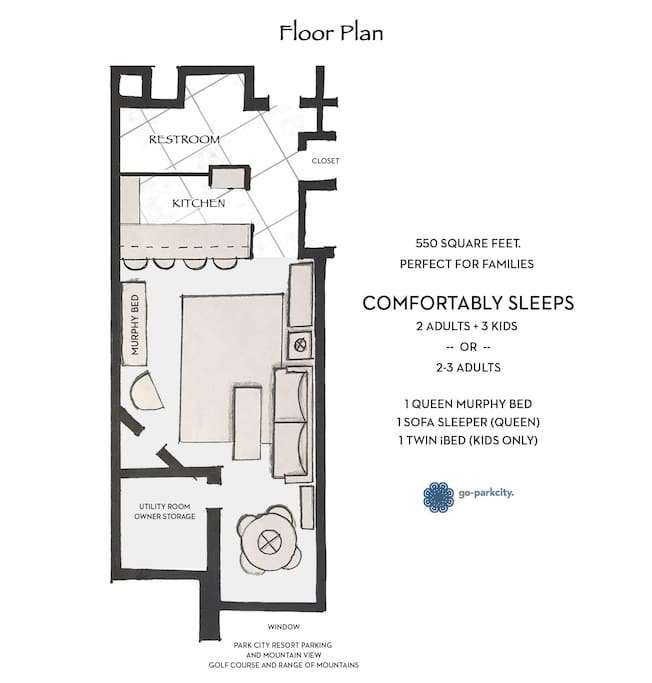 The floor plan.  Sleeps up to 2 couples or a family of 5 with kids.  Cannot sleep 5 adults.