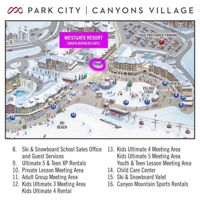 Location, location, location!  Exit right into Canyons Village.  SLOPESIDE accommodations. Our FREE Ski Valet will have your skis for you right by the Gondola.