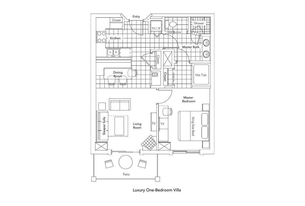 750 square feet.  Bedroom bedroom with spacious living area and full kitchen.