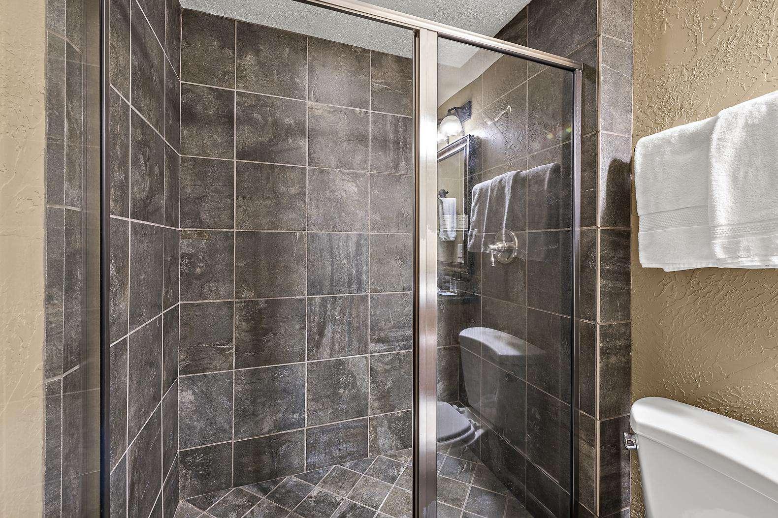 Master bedroom slate shower