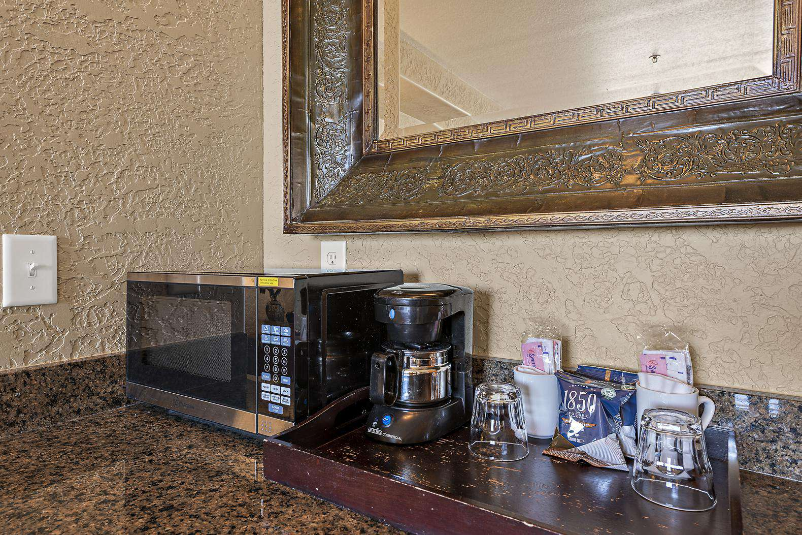 Master Bedroom kitchenette with microwave and coffee maker