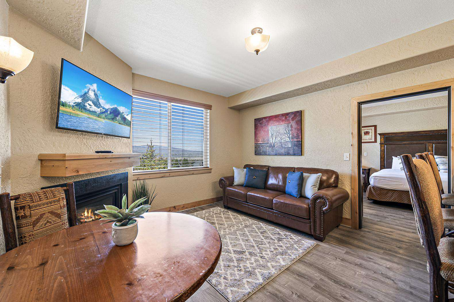 Open living room with sofa bed and great views