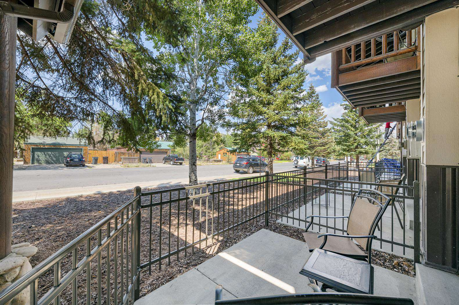 Patio with View of Road and Sidewalk