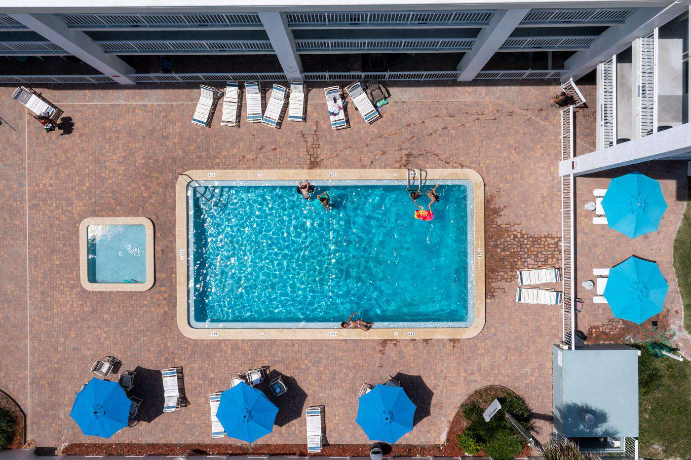 drone shot of the pool - property
