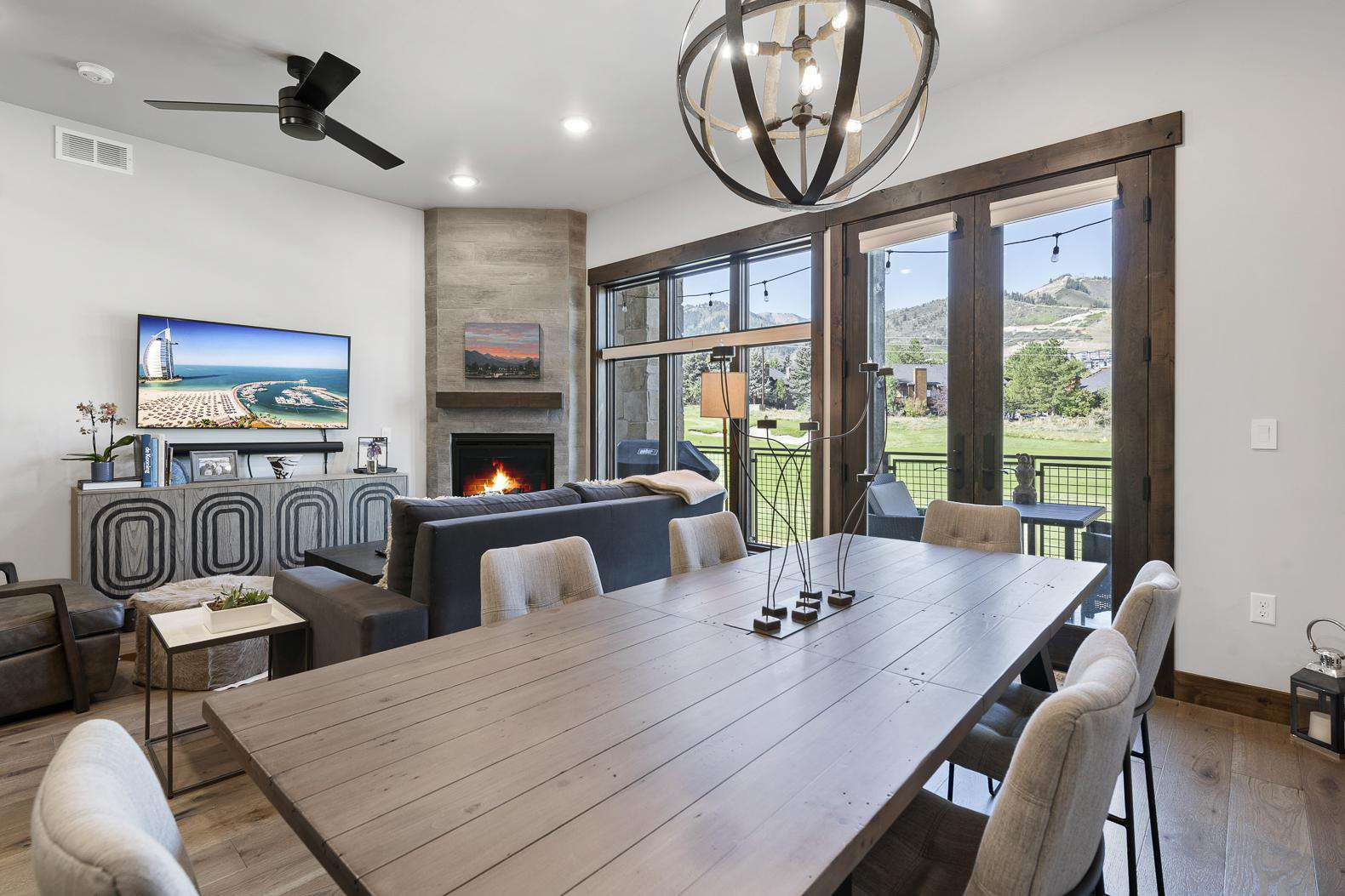 Living Room Dining Table & Balcony