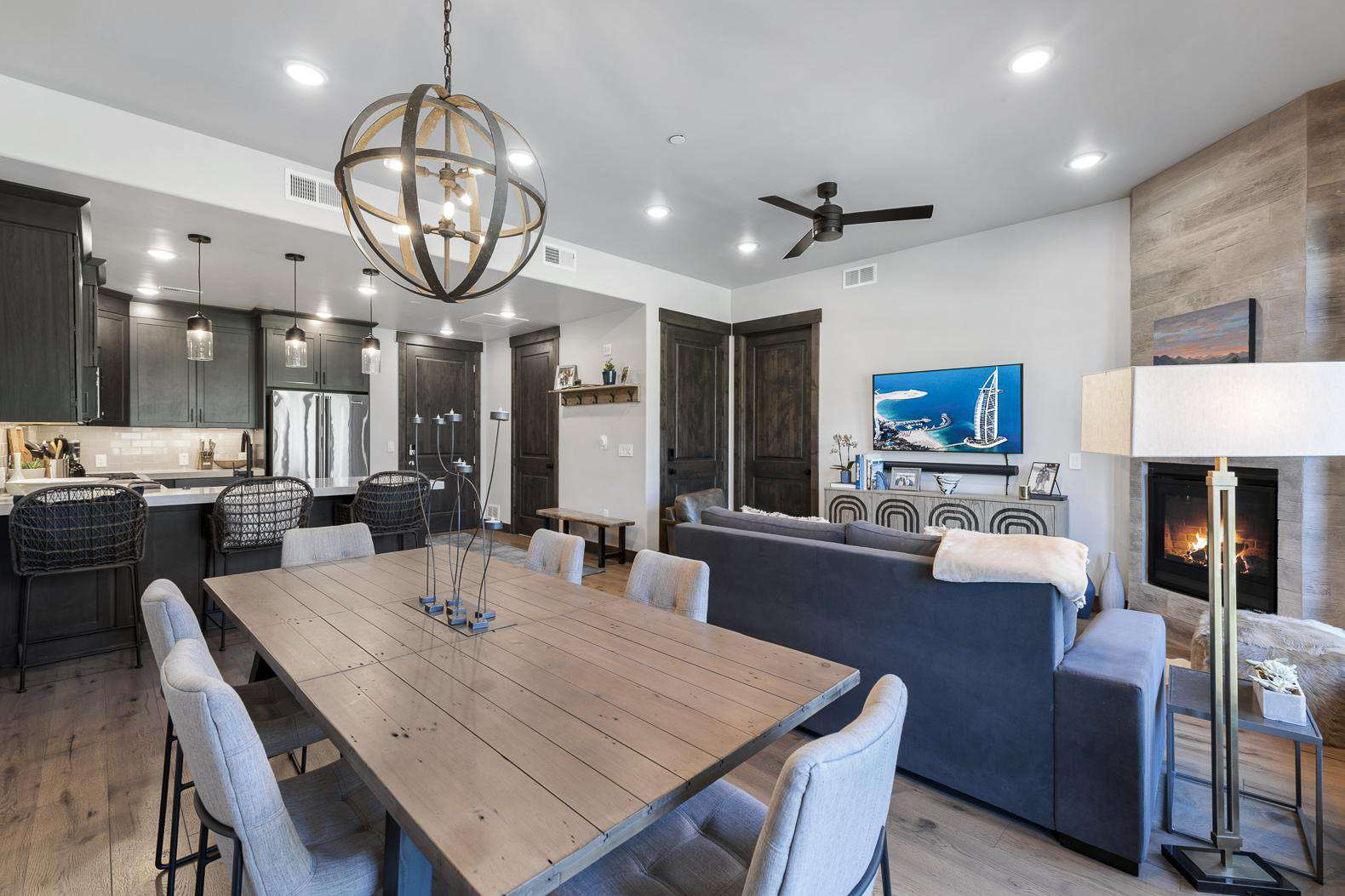 Living Room Dining Table & Kitchen