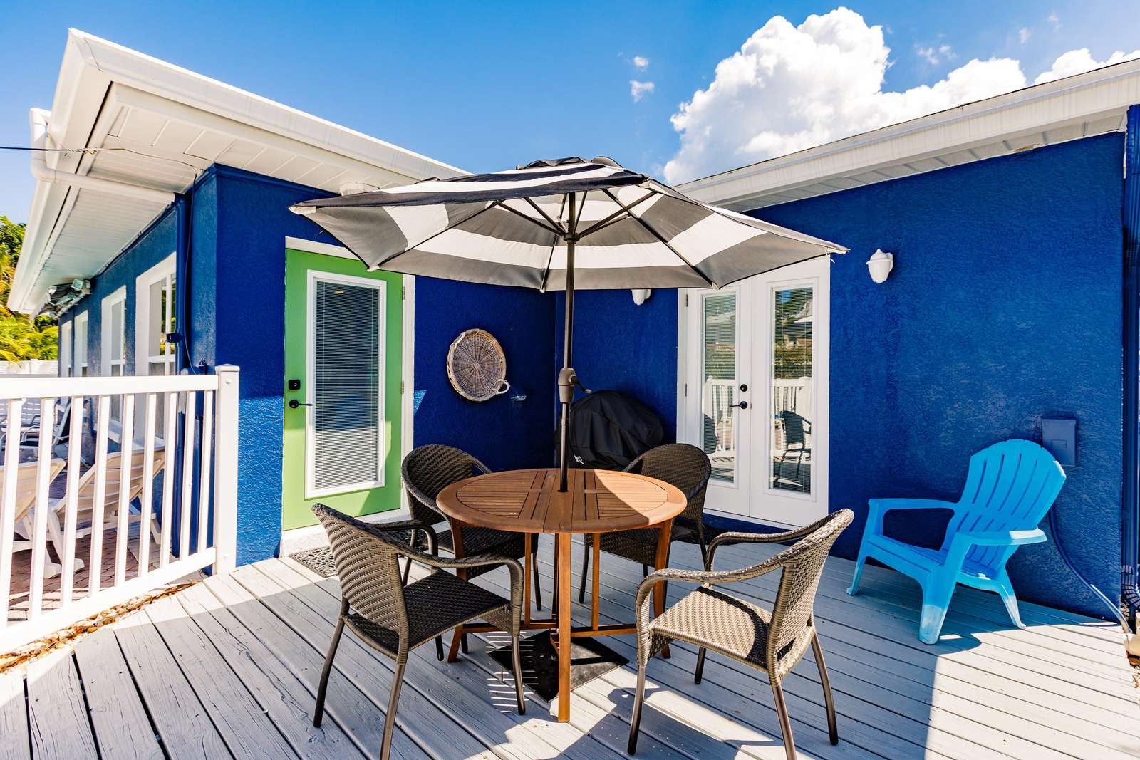 Private patio and grilling area.  Each half of the duplex has their own private space